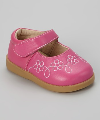 Sneak A' Roos Hot Pink Flower Squeaker Mary Jane