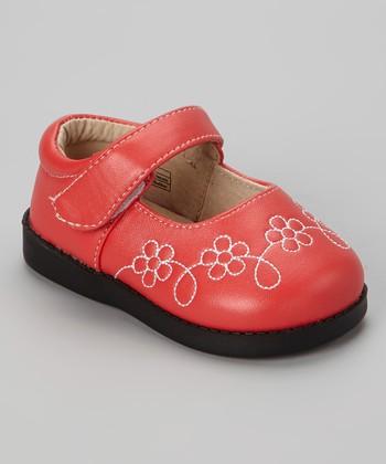 Sneak A' Roos Red Flower Squeaker Mary Jane