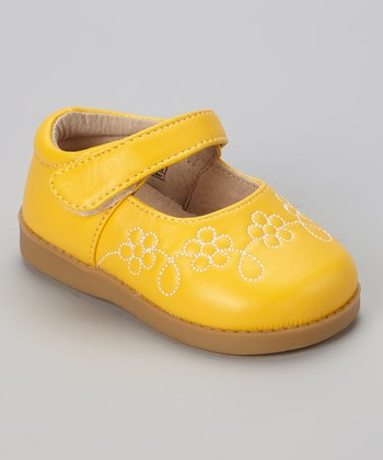 Sneak A' Roos Yellow Flower Squeaker Mary Jane