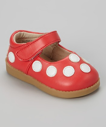 Sneak A' Roos Red & White Polka Dot Squeaker Mary Jane