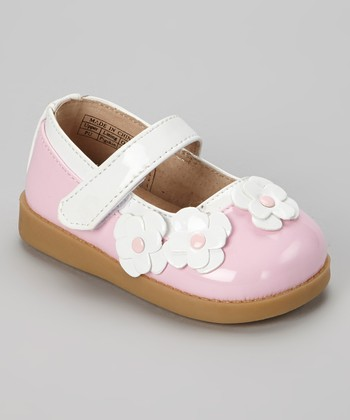 Pink & White Patent Squeaker Mary Jane