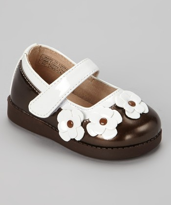 Sneak A' Roos Brown & White Patent Squeaker Mary Jane