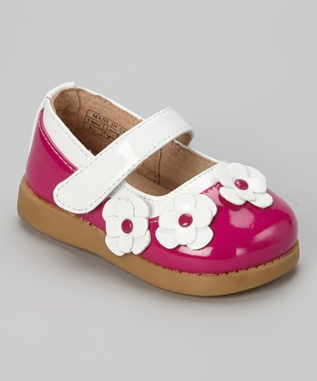 Sneak A' Roos Hot Pink & White Patent Squeaker Mary Jane