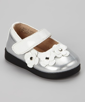 Sneak A' Roos Silver & White Patent Squeaker Mary Jane