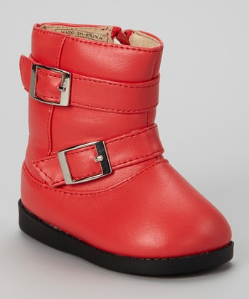 Red Buckle Squeaker Boot
