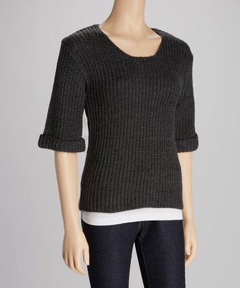 Charcoal Ribbed Chloe Sweater