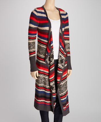 Ash Gray & Red Tribal Stripe Open Cardigan