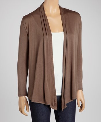 Olive Long-Sleeve Open Cardigan
