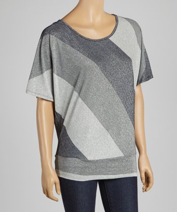 Gray & Silver Stripe Top