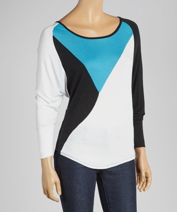 Turquoise & White Color Block Dolman Top