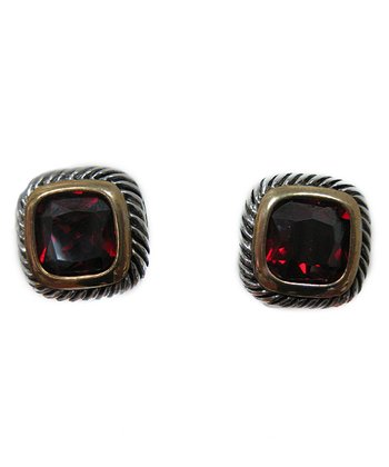 Ruby & Two-Tone Braided Square Earrings