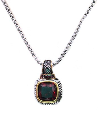 Red Cubic Zirconia & Two-Tone Braided Square Pendant Necklace