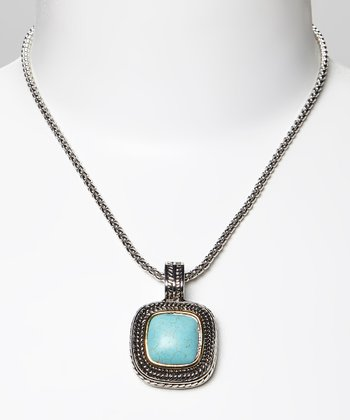 Turquoise & Two-Tone Braided Square Pendant Necklace