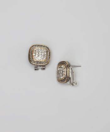 Pavé Crystal & Two-Tone Braided Square Earrings