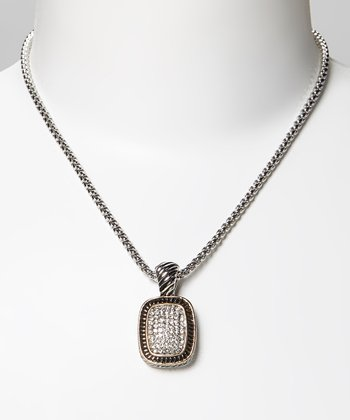 Pavé Crystal & Two-Tone Braided Rectangular Pendant Necklace