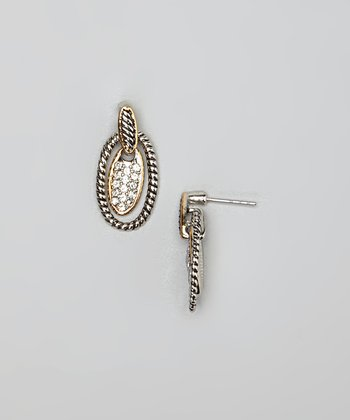 Clear Crystal & Silver Braided Oval Earrings