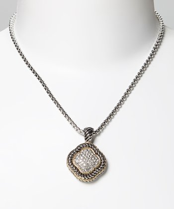 Pavé Crystal & Two-Tone Quatrefoil Pendant Necklace