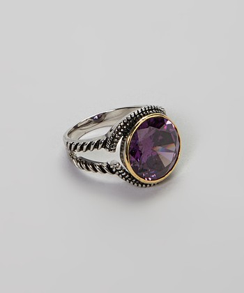 Amethyst & Silver Round Stone Cocktail Ring
