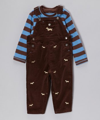 Brown Stripe Tee & Puppy Overalls