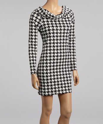 Black & White Houndstooth Long-Sleeve Dress