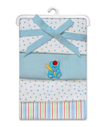 Blue Cuddle Bear Flannel Stroller Blanket Set