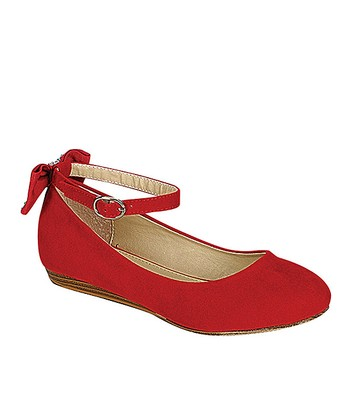 Red Gidney Ankle-Strap Flat