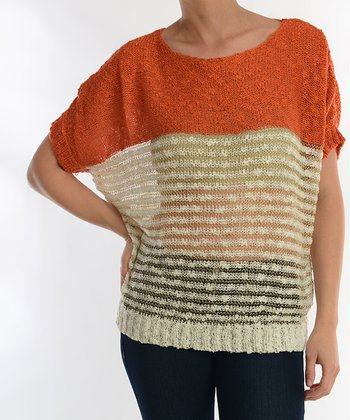 Orange & Cream Sheer Dolman Sweater