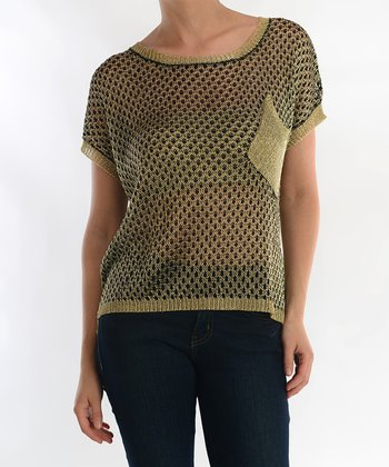 Black & Taupe Sheer Pocket Sweater