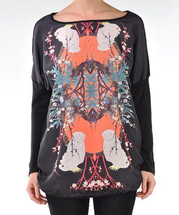 Black Parrot Kaleidoscope Dolman Top