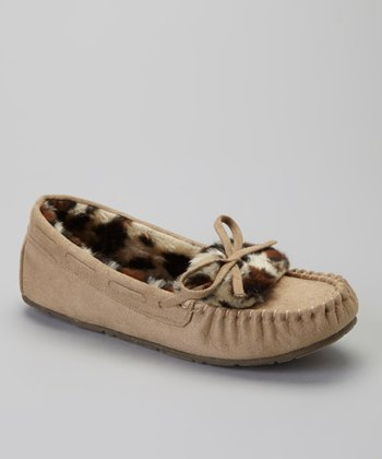 Tan Leopard Slipper