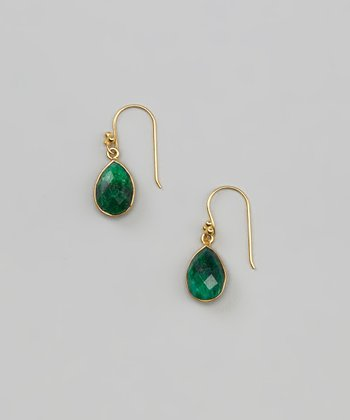 Emerald & Gold Teardrop Earrings