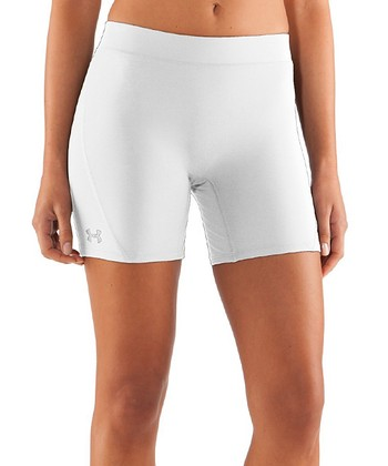 White UA Ultra Compression Shorts