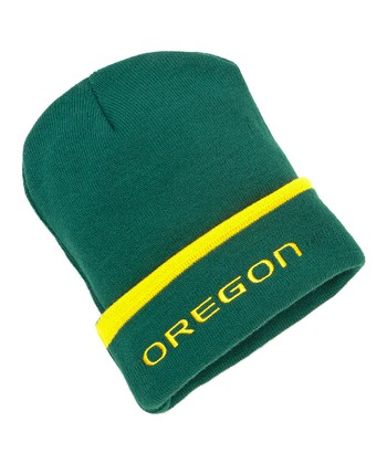 Green & Yellow Oregon Cuffed Knit Beanie