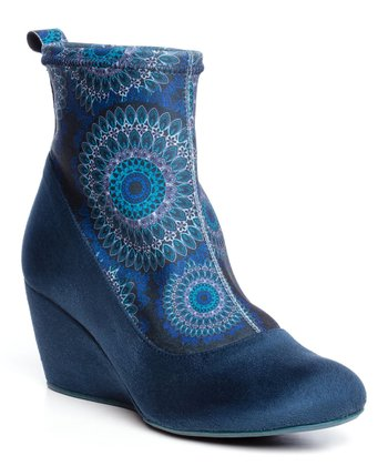 Blue Ines Wedge Bootie