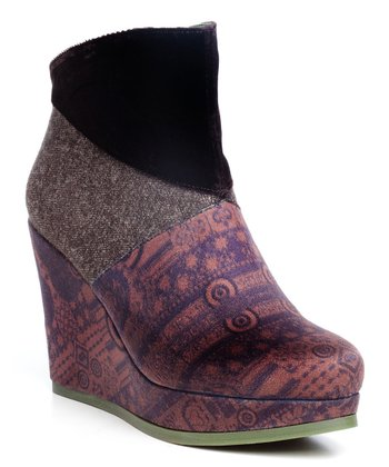 Chocolate Tweed & Velvet Liepaja Wedge Ankle Boot