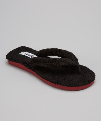 Black & Brick Plush Flip-Flop