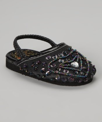 Black Beaded Heart Slipper