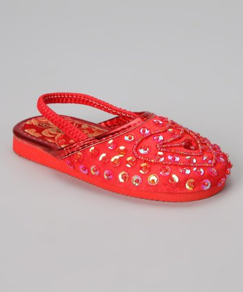 Red Beaded Heart Slipper