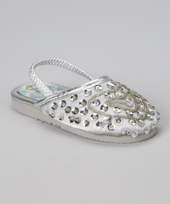 Silver Beaded Heart Slipper