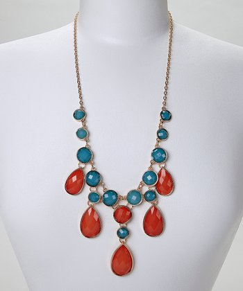 Coral Teardrop Necklace