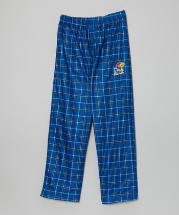 Kansas Jayhawks Blue Plaid Pajama Pants - Kids