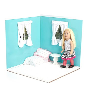 Aqua & White 18'' Doll Room Set