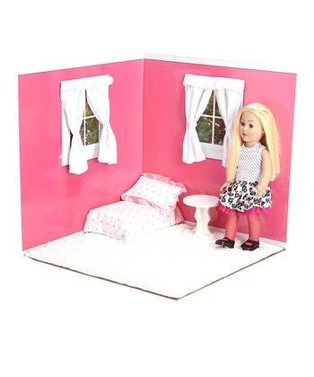 Raspberry & White 18'' Doll Room Set