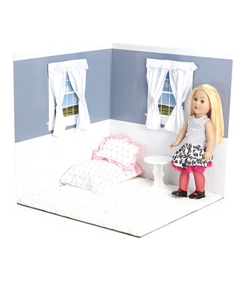 Dusty Blue & White 18'' Doll Room Set