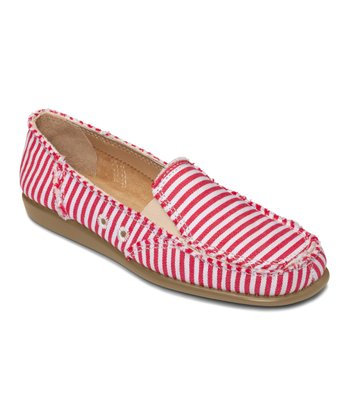 Red & White Stripe So Soft Slip-On Shoe