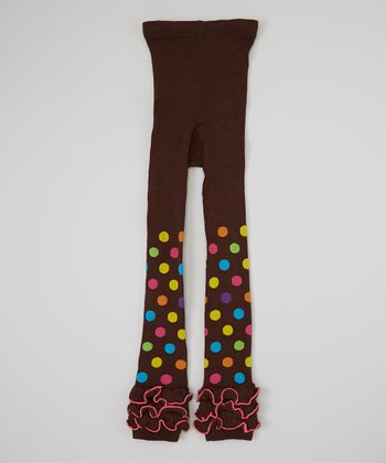 Brown & Pink Polka Dot Ruffle Tights - Girls
