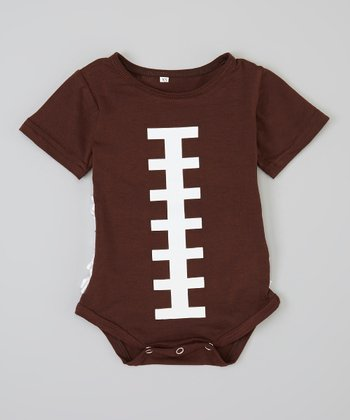 Brown & White Football Ruffle Short-Sleeve Bodysuit - Infant