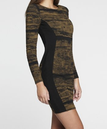 Black & Tapenade Shaper Long-Sleeve Dress - Women