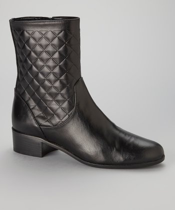 Black Quilted Leather Malena Boot