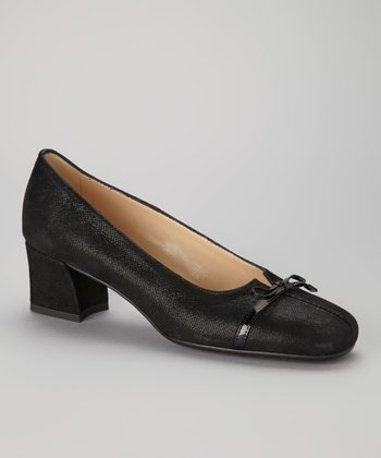 Black Leather Bow Trina Pump